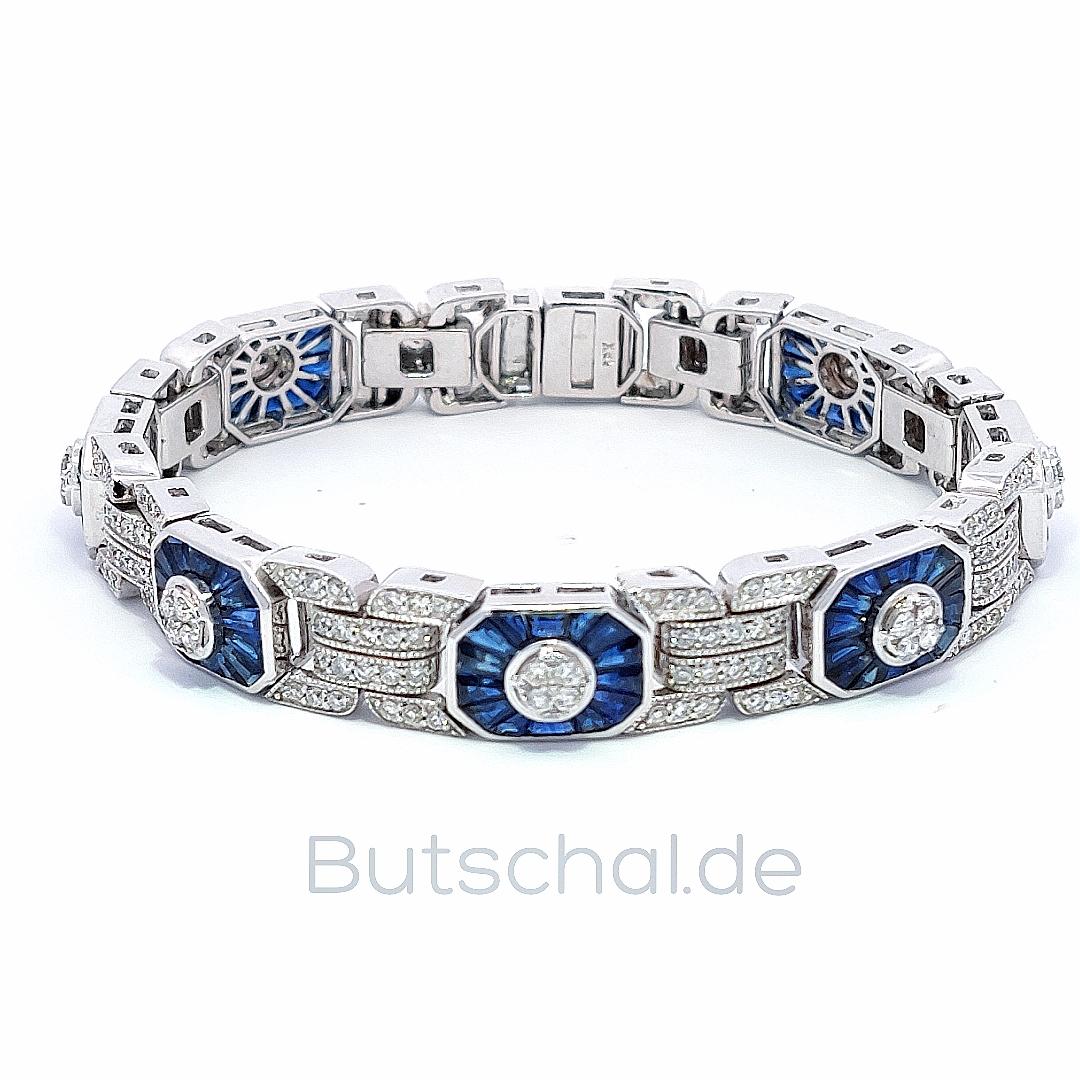 Schmuck diamanten  Diamant-Saphir Armband mit 3,54ct Diamanten und 3,72ct Saphiren ...