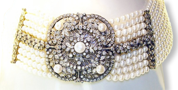 Colliers schmuck  Perlen- Collier de Chien mit Diamanten | Schmuck