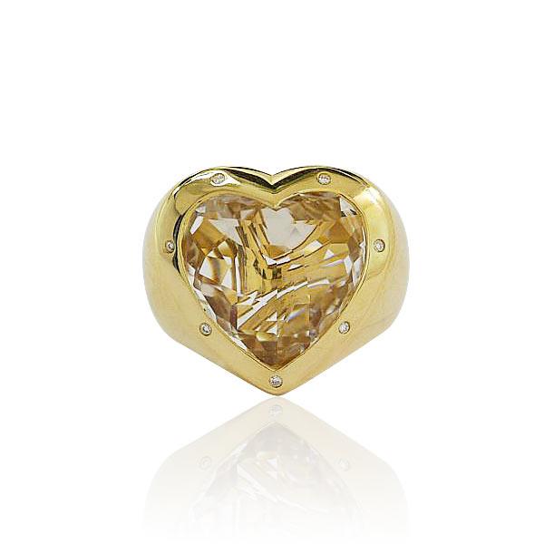 Diamantring herz gold  Herz-Ring mit Bergkristall Herz und 0,07ct Diamanten, Jette Joop ...