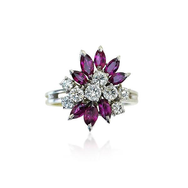 rubin brillant weissgoldring mit 0 743ct diamanten und 0 872ct rubine schmuck. Black Bedroom Furniture Sets. Home Design Ideas