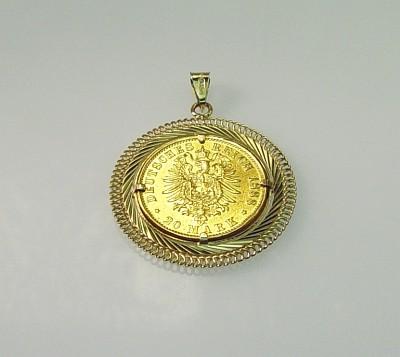 Anhänger Gold 14 Kt Mit Gold Münze 900 Gold 20 Mark 1888